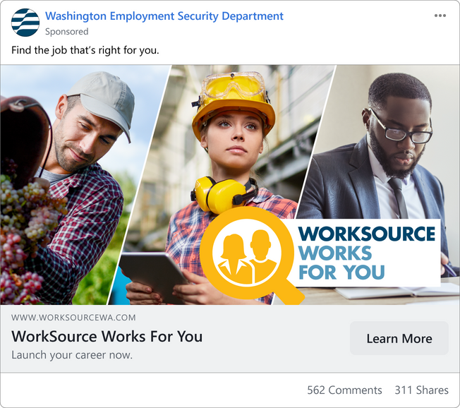 WorkSource advertisement on Facebook illustrating audience awareness
