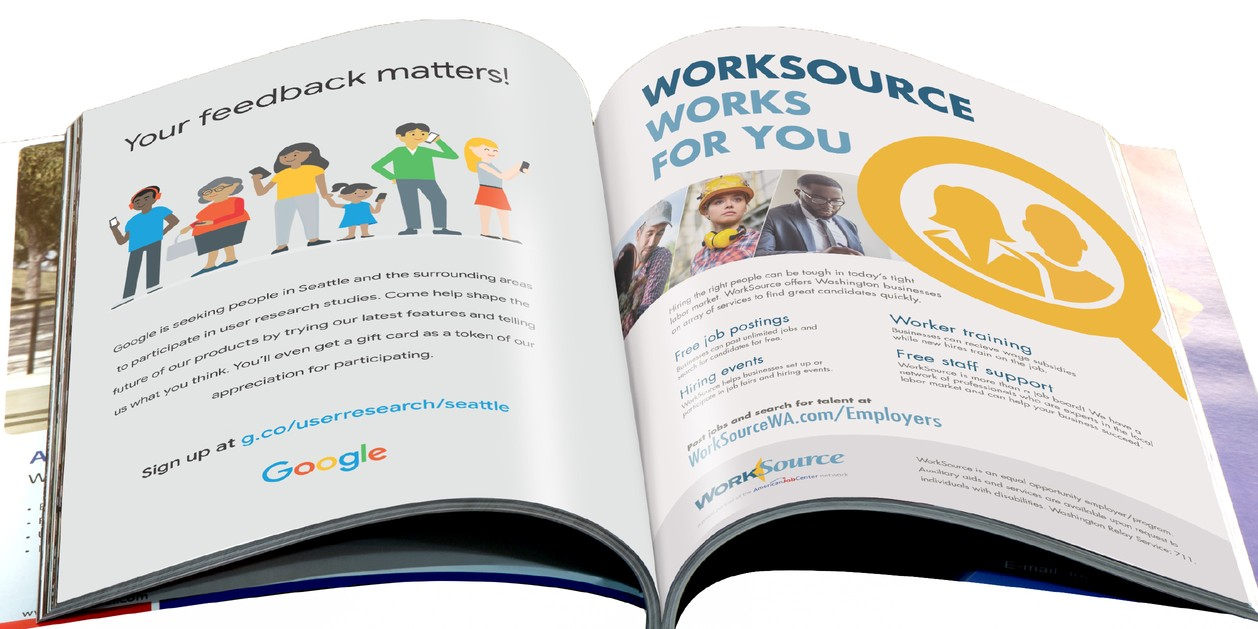 Google and WorkSource full-spread magazine ads