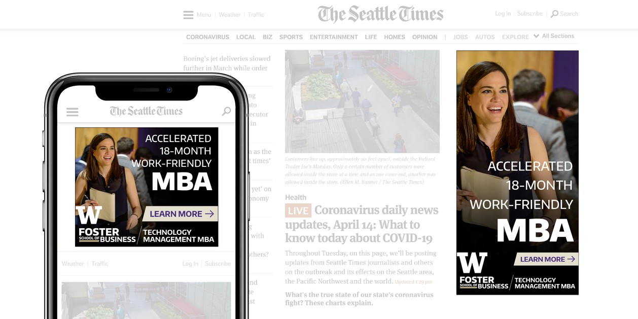 UW Foster digital ads on Seattle Times web site